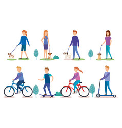 group of people doing activities vector image