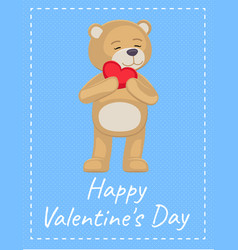 Happy valentines day poster adorable teddy heart vector