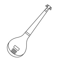 indian guitar icon outline style vector image