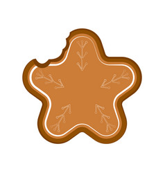 Isolated bitten christmas star gingerbread vector