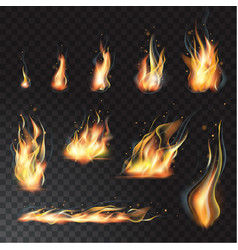 Isolated set of transparent realistic flame vector