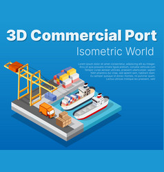 isometric city industrial dock port with container vector image