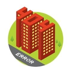Isometric error 404 buildings isolated vector image