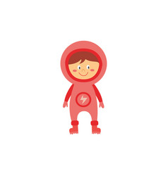 kid astronaut in pink space costume cute cartoon vector image