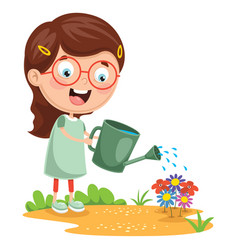 kid watering flowers vector image