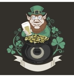 Leprechaun with pot of gold and holding a beer vector