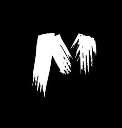 letter m handwritten by dry brush rough strokes vector image