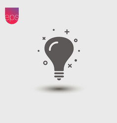 lightbulb simple icon emblem isolated on grey vector image