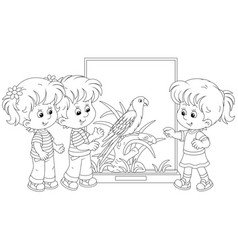 Little kids watching a parrot in a zoo vector