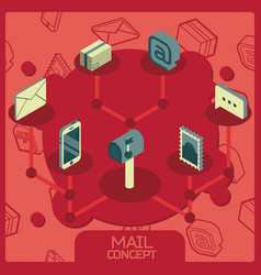 Mail color concept isometric icons vector