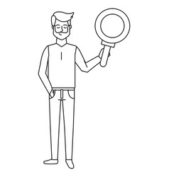 Man with magnifying glass black and white vector