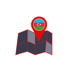 Map pin azerbaijan isolated with state flag vector