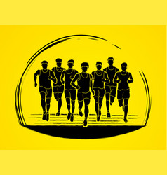 marathon runners group of people running men run vector image