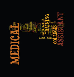 Medical assistant college text background word vector