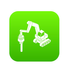 medium drill truck icon green vector image