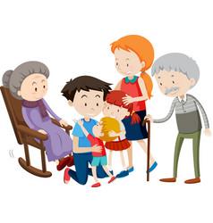 Member family cartoon character on white vector
