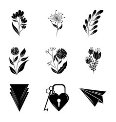 minimalist tattoo boho flowers floral decoration vector image