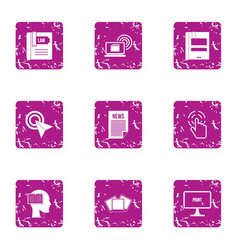 News bulletin icons set grunge style vector