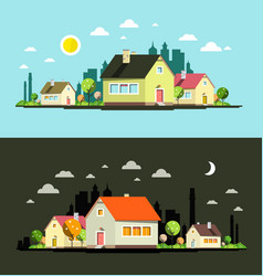 Night and day flat design city with houses vector