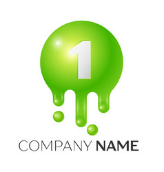 Number one splash logo green dots and bubbles vector