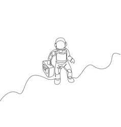 one single line drawing spaceman flying vector image