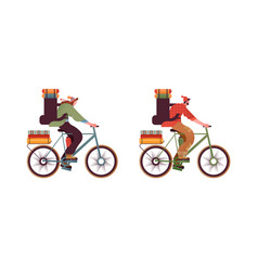 people in bike with backpack isolated set vector image