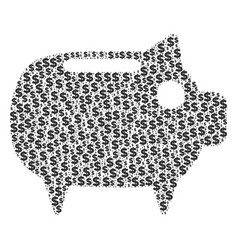 Piggy bank composition of dollar and dots vector