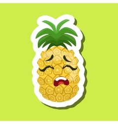 Pineapple upset cute emoji sticker on green vector