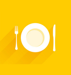 plate with cutlery on a yellow background vector image