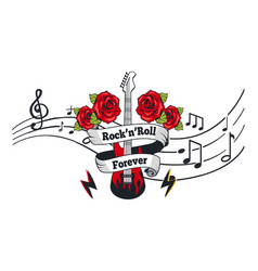Rock n roll forever electric guitar with roses vector