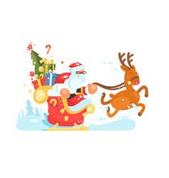 santa claus rides in sleigh vector image