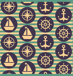 seamless nautical pattern with steering wheels vector image