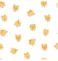 Seamless pattern with cute cartoon small yellow vector