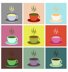 Set icons in flat design cup of coffee vector