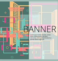 set of colorful banners with smartphones laptops vector image