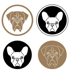 Set of round labels with dog heads vector