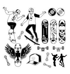 Set skateboarding elements vector