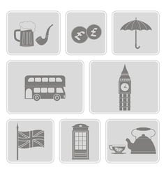 Set with england icons vector
