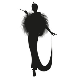 Silhouette elegant lady smoking a pipe wearing vector