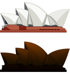 Silhouette sydney opera house on white background vector