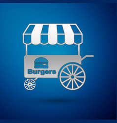 Silver fast street food cart with awning icon vector