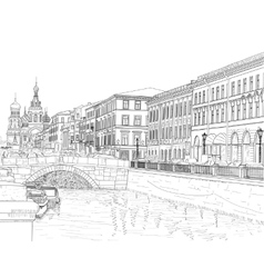 Sketch of a city street vector