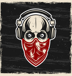 Skull in headphones and red bandana on face vector