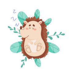 Smiling hedgehog character sleeping on bush vector