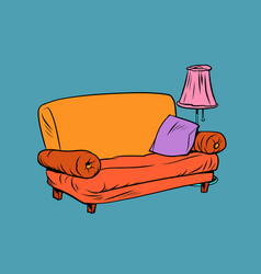 sofa furniture with lamp in apartment vector image