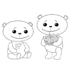 teddy bears with flowers vector image