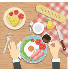 The quest of the restaurant is having breakfast vector