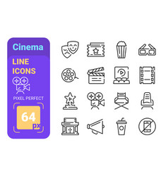 theater and cinema line icons set vector image