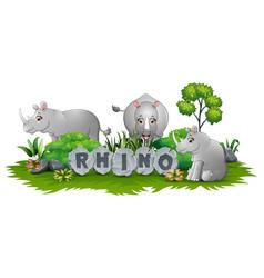 Three rhino playing at garden vector