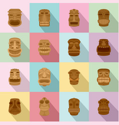 tiki idol aztec hawaii face icons set flat style vector image